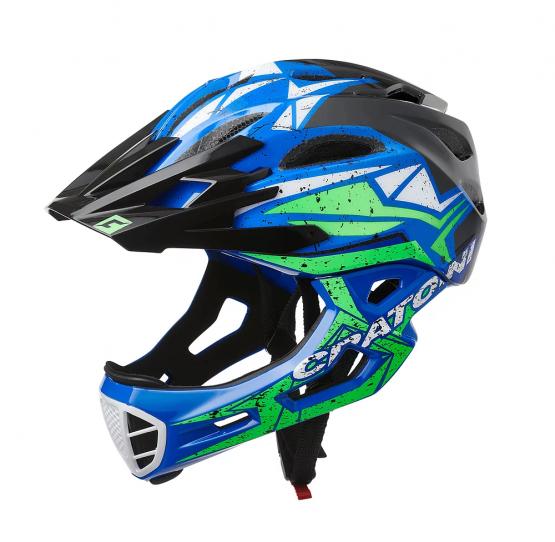 兒童全式頭盔 Cratoni C-Maniac Pro Black-Blue-Lime Glossy