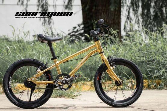 SUNRIMOON 兒童單車 16吋 皮帶輕量單車 (金色)
